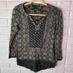 Lucky Brand Top Size XS Shirt Boho Black Tan
